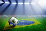 Soccer stadium, flag of Brazil