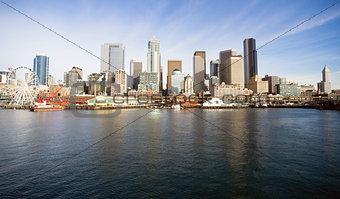 Waterfront Piers Dock Buildings Ferris Wheel Boats Seattle Ellio