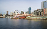 Waterfront Piers Dock Buildings Needle Ferris Wheel Seattle Elli