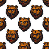 Seamless pattern of brown bear head trophies