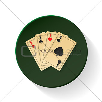 Four aces colored flat icon