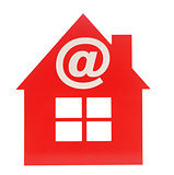 email icon on red plastic house shaped object on white backgroun
