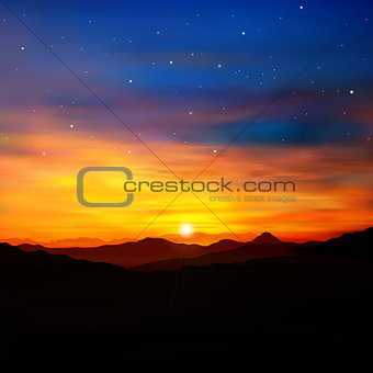 abstract nature green background with golden sunrise