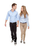 Young romantic couple walking