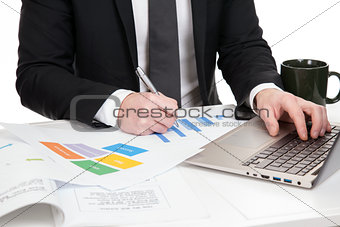 Businessman analysing data