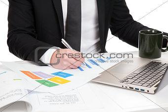 Businessman analysing data