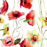 Seamless pattern with Narcissus and Poppy flowers