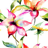 Seamless wallpapers with Lily flowers
