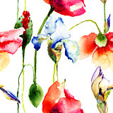 Seamless wallpaper with Iris and Poppy flowers