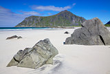 Scenic sandy beach on Lofoten