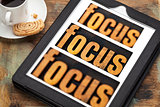 focus concept on digital tablet