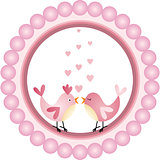 Love Birds Round Label