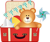Teddy Bear in the Suitcase of Toys