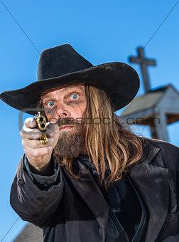 Man Holds Gun