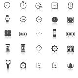 Time icons with reflect on white background