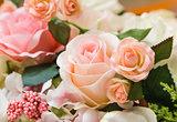 Orange fabric roses