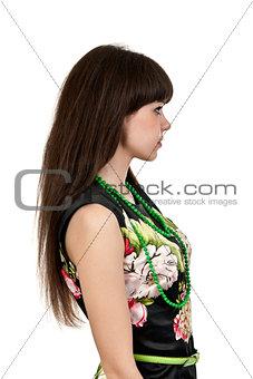 Beautiful brunette woman in profile