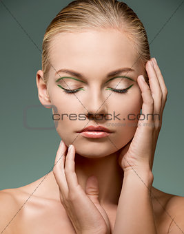 calm make-up girl in beauty portrait