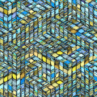 abstract striped cube  blue yellow backdrop