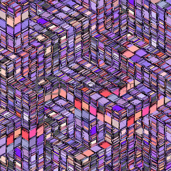 abstract striped cube purple pink gray backdrop