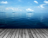 Ocean with sky and wood floor