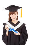 smiling Young graduate girl student with diploma