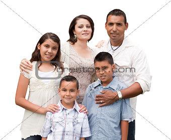 Happy Attractive Hispanic Family Portrait on White
