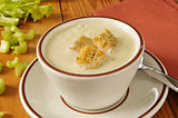 Hot cream of celery soup