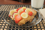Peanut butter and strawberry, banana sandwich