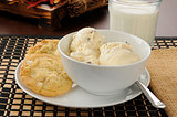 Ice cream with cookies and milk