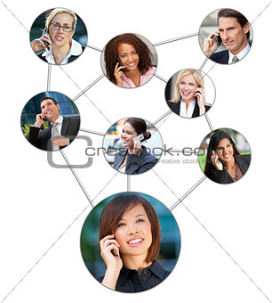 Business Men Women Cell Phone Communication Network