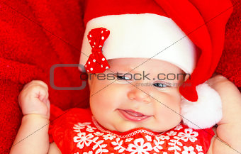Sweet newborn baby on Christmastime
