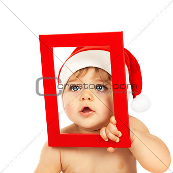 Cute child with red Christmas frame