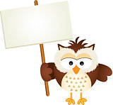 Owl Holding Blank Signboard