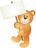 Teddy Bear Holding Blank Signboard