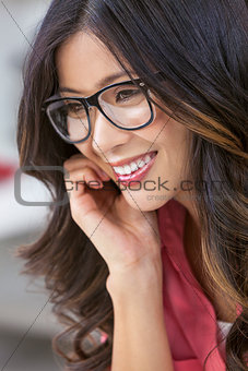 Asian Chinese Woman Girl Wearing Geek Glasses