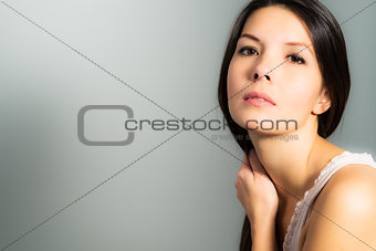 Beautiful woman with a neutral expression