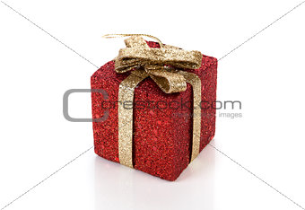 Artificial red gift box