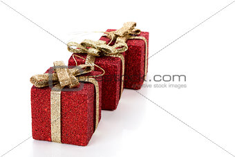 Artificial red gift boxes