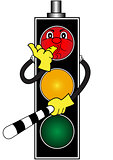 Cartoon red traffic light