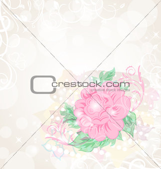 Abstract romantic celebration card with flower