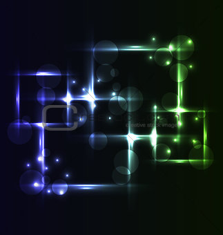 Abstract background, set square bubbles with light effects