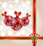 Celebration background with Christmas balls and holiday decorati