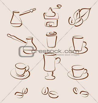 Sketch set coffee design elements - vector