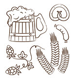 Octoberfest cartoon design elements (1), hand drawn style