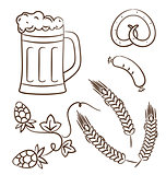 Octoberfest cartoon design elements (2), hand drawn style