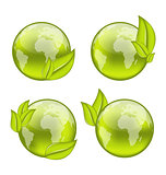 set icon world with eco green leaves isolated on white backgrou
