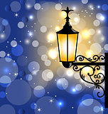 Vintage street lamp, dark winter background