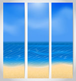 Set cards with summer holiday background