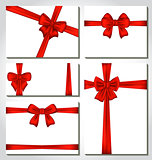 Set of red gift bows for design packing